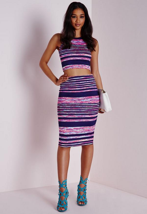 Blurred Stripe Print Midi Skirt Navy