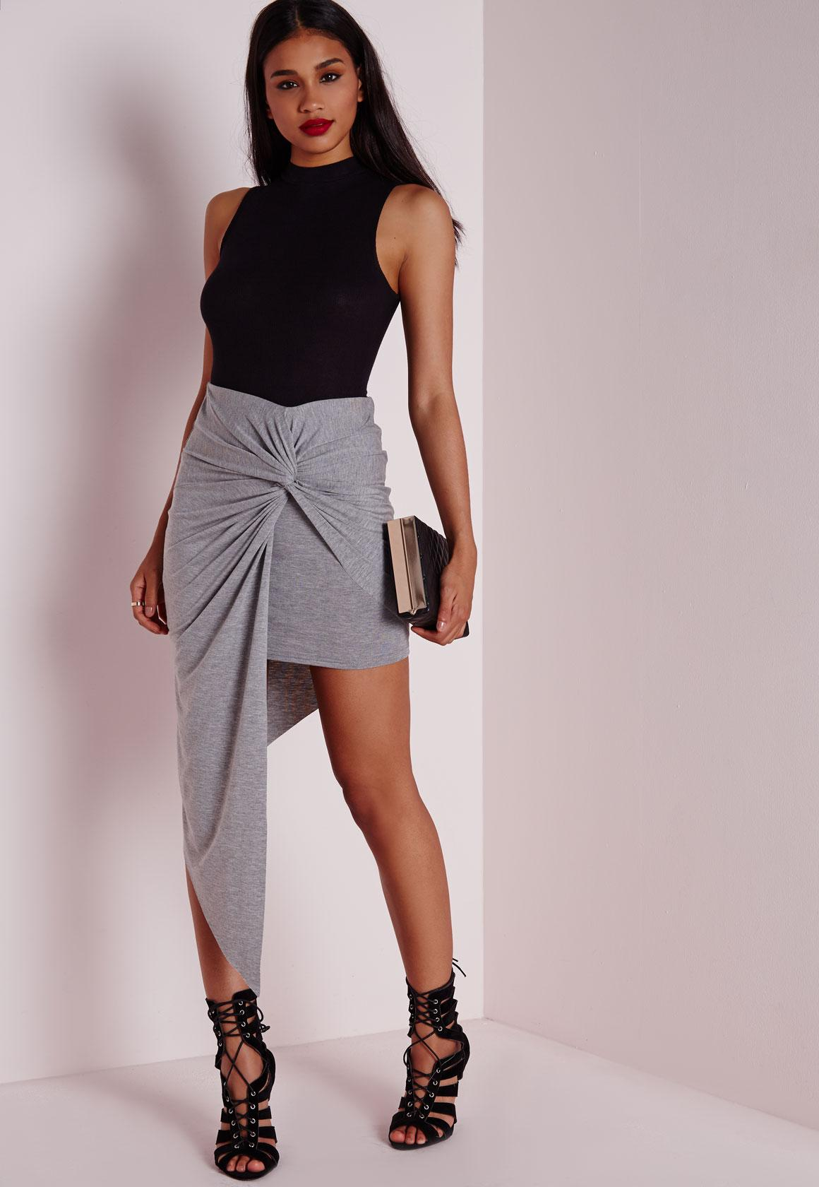 Draped Front Asymmetric Skirt Grey Marl | Missguided