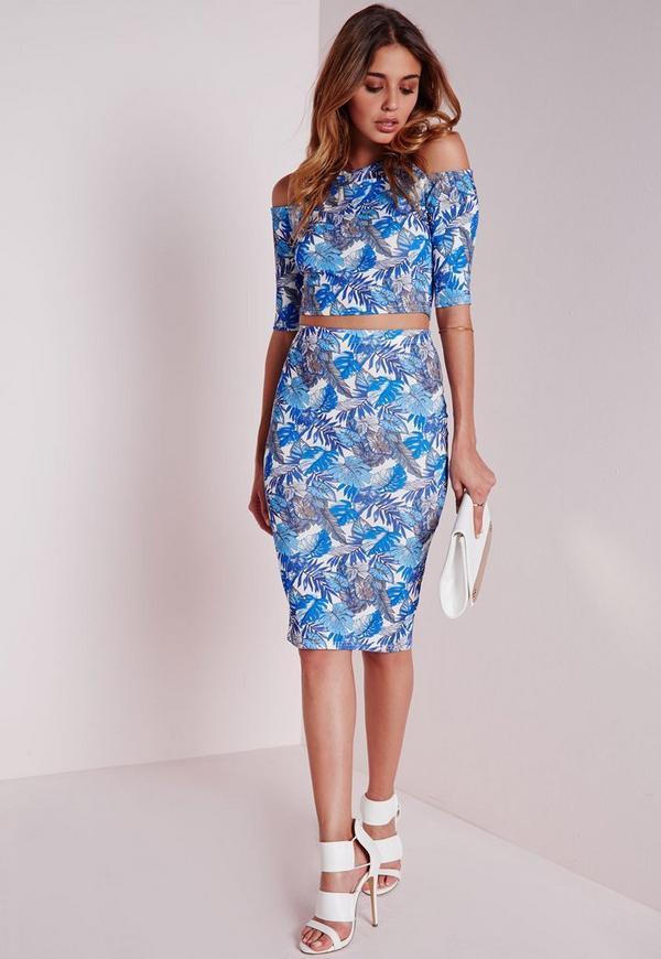 Leaf Print Midi Skirt Blue