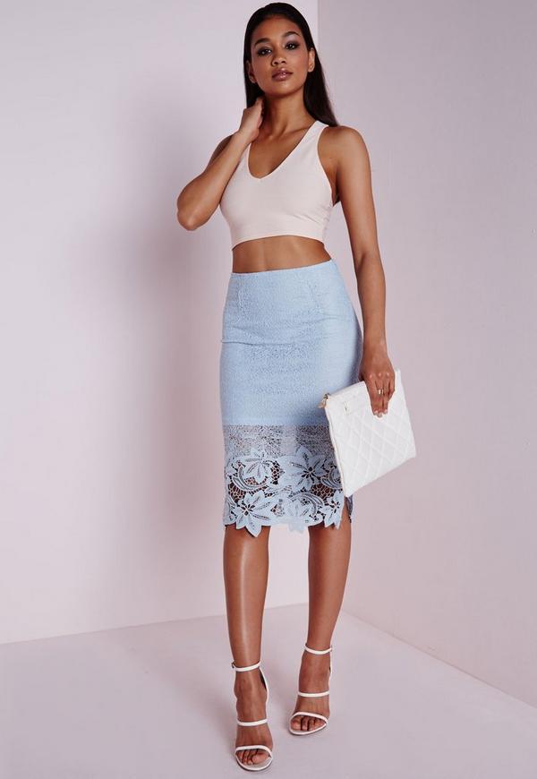 Lace Detail Midi Skirt Blue