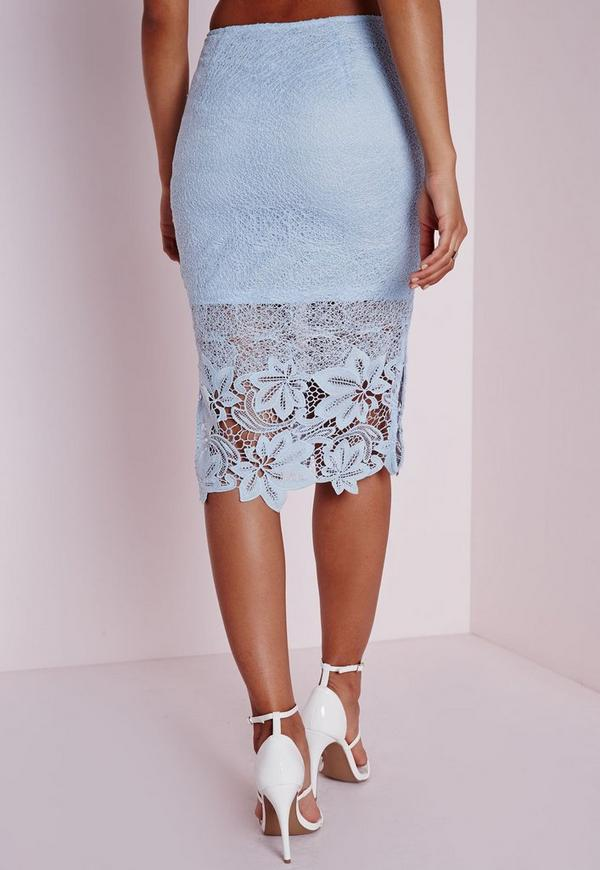 Lace Detail Midi Skirt baby Blue - Lace - Midi - Skirts - Missguided