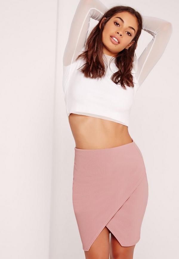 Ribbed Wrap Mini Skirt Mauve