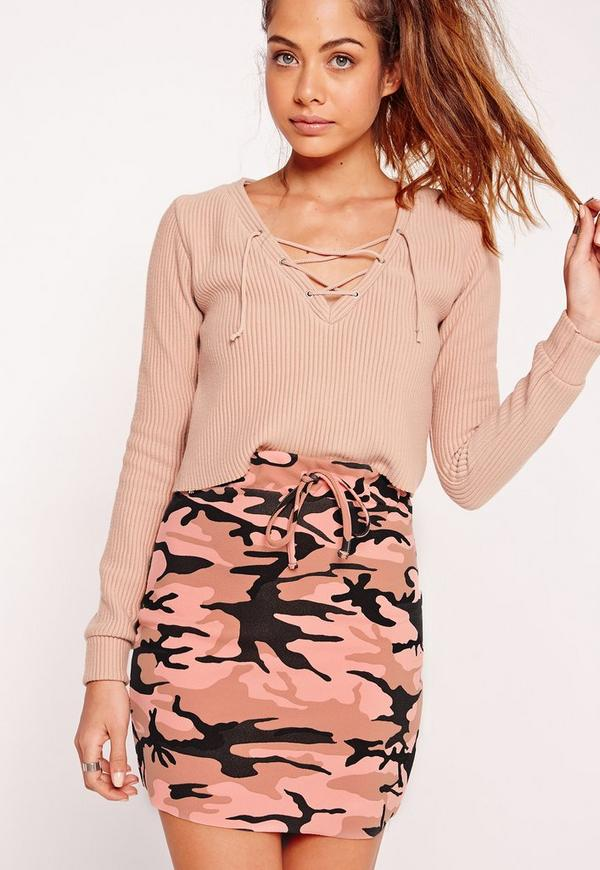 Textured Camo Mini Skirt Pink