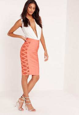 Premium Mesh Panel Side Midi Bandage Pencil Skirt Orange