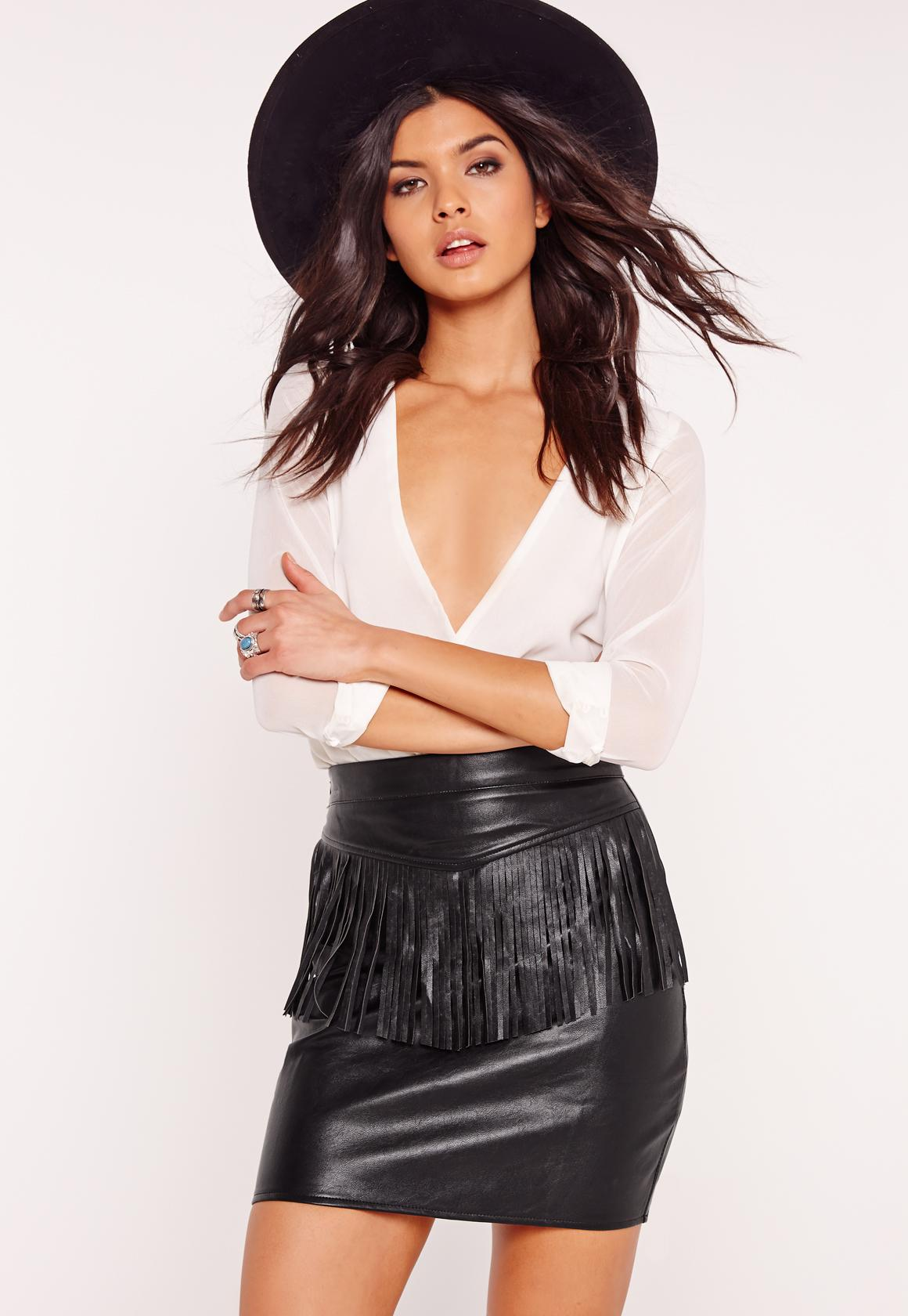 Fringe Front Faux Leather Mini Skirt Black | Missguided