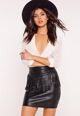 Fringe Front Faux Leather Mini Skirt Black