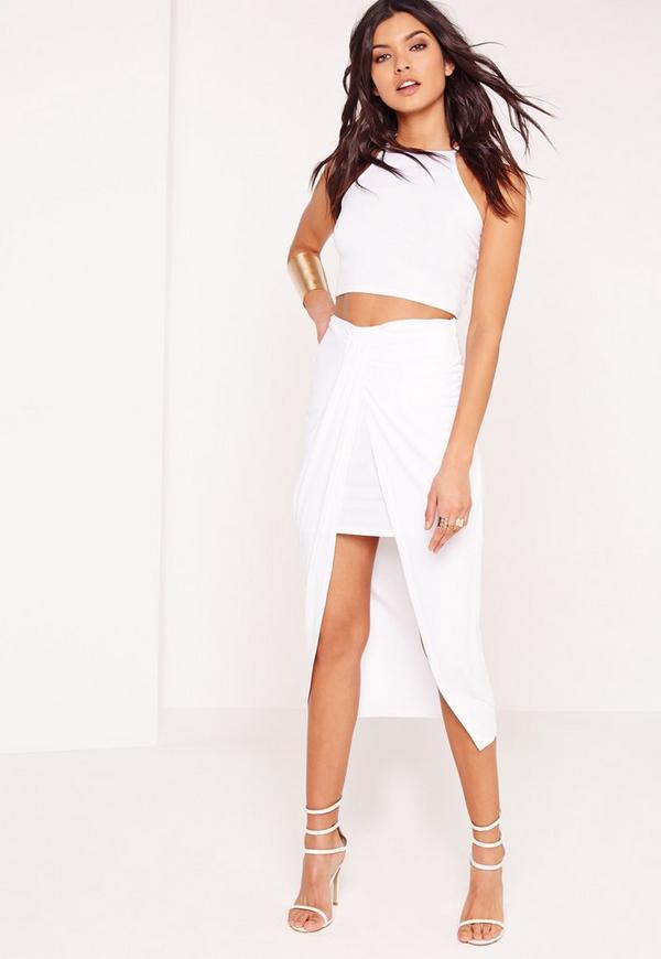 Pleat Front Jersey Midi Skirt White