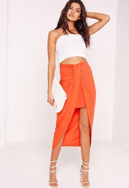 Pleat Front Jersey Midi Skirt Orange