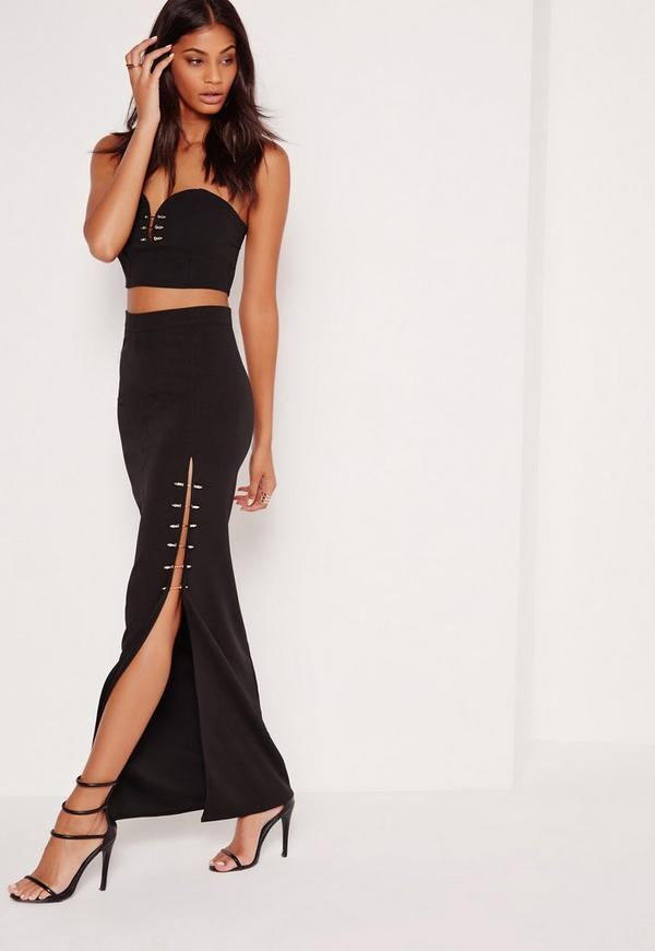 Split Bar Detail Maxi Skirt Black