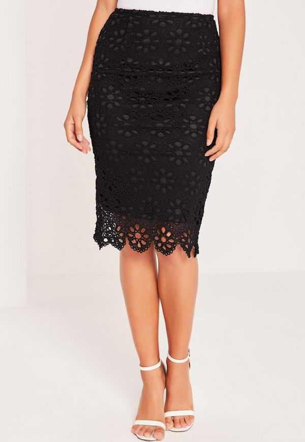lace pencil skirt black missguided