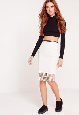Mesh Ribbed Waist Pencil Skirt White
