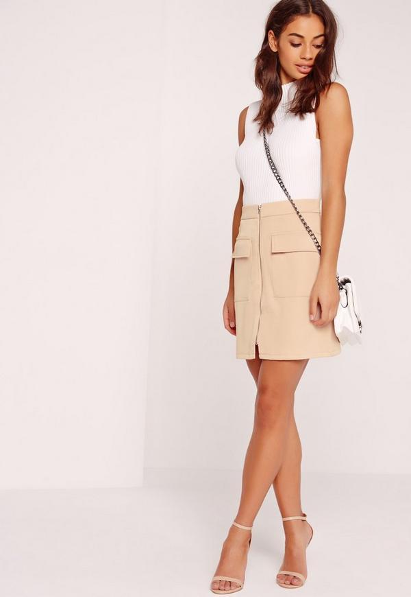 Zip Front Pocket Detail Mini Skirt Nude