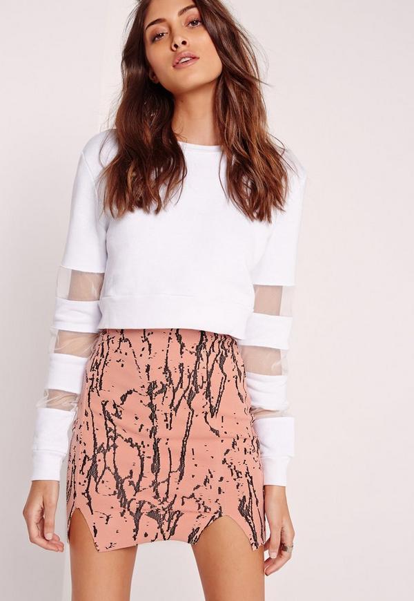 Marble Texture Mini Skirt Pink