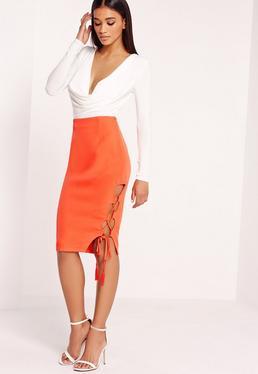 lace up side midi skirt orange