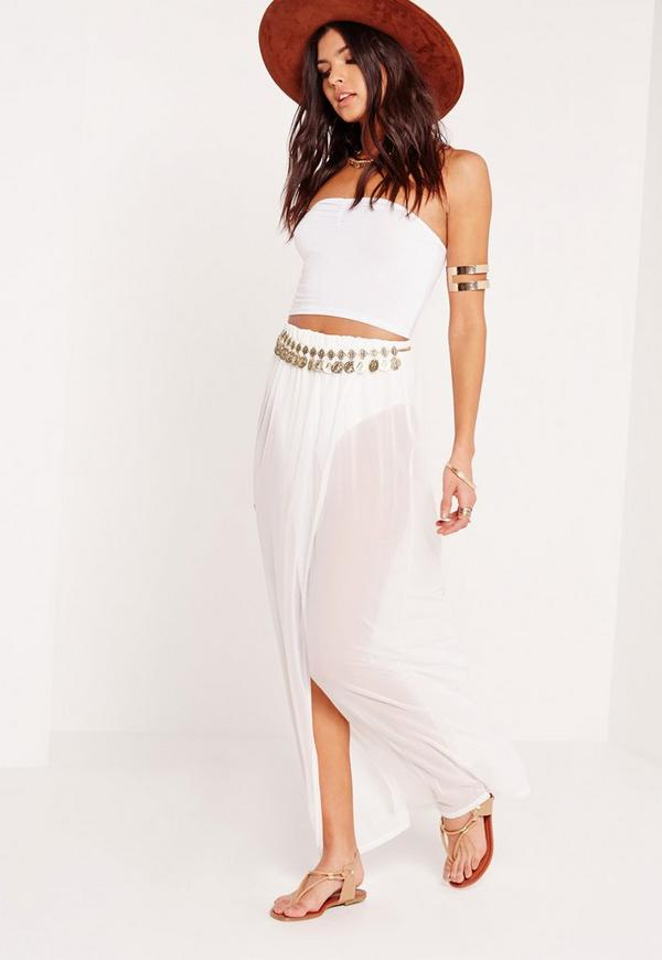 Mesh Maxi Skirt Knicker Insert White