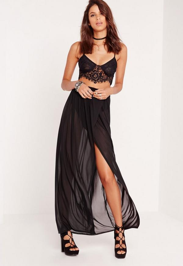 Mesh Maxi Skirt With Pants Insert Black Missguided