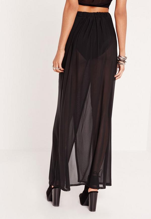mesh maxi skirt with insert black missguided