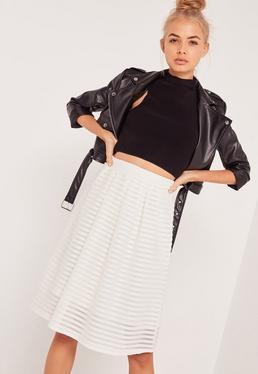 Rib Mesh Stripe Midi A Line Skirt White