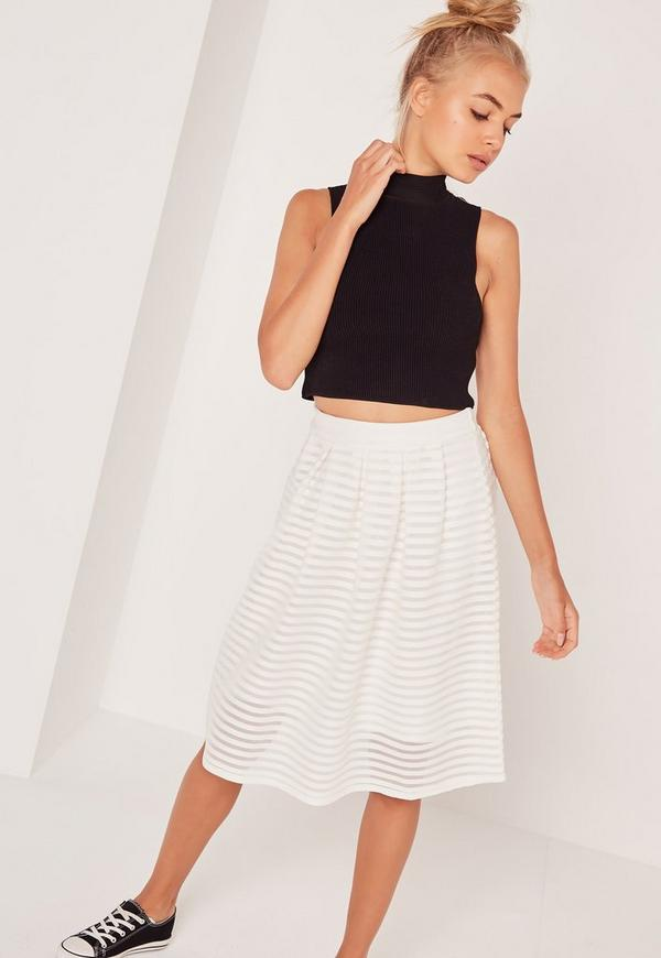 Rib Mesh Stripe Midi A Line Skirt White   Missguided
