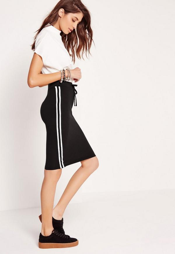Side Stripe Pencil Skirt Black