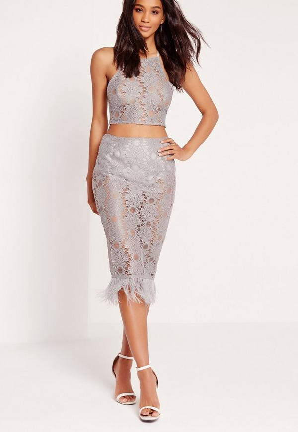 All Over Lace Feather Hem Skirt Grey
