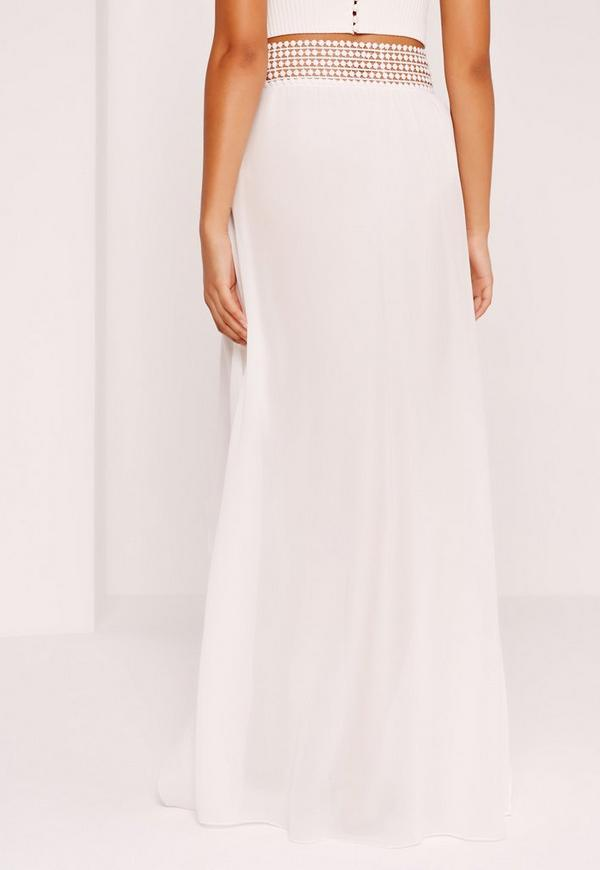 Lace Waist Chiffon Maxi Skirt White - Missguided