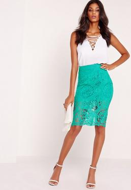 Lace Pencil Skirt Green