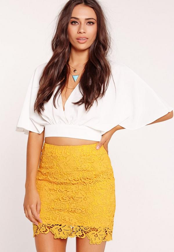 All Over Lace Mini Skirt Yellow