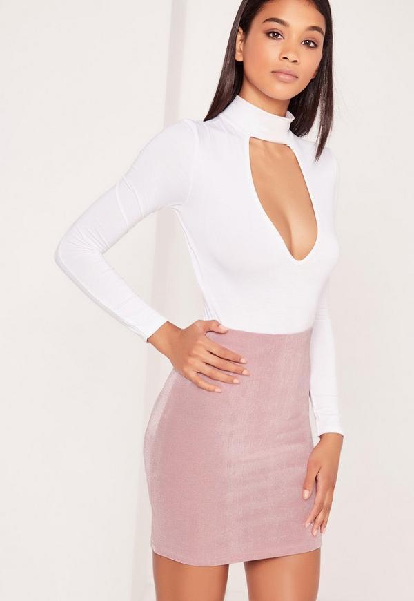 Textured Slinky Mini Skirt Pink