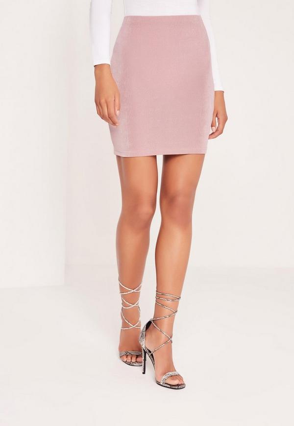 Textured Slinky Mini Skirt Pink | Missguided