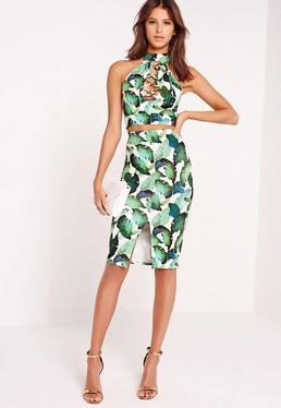 palm leaf print midi skirt multi