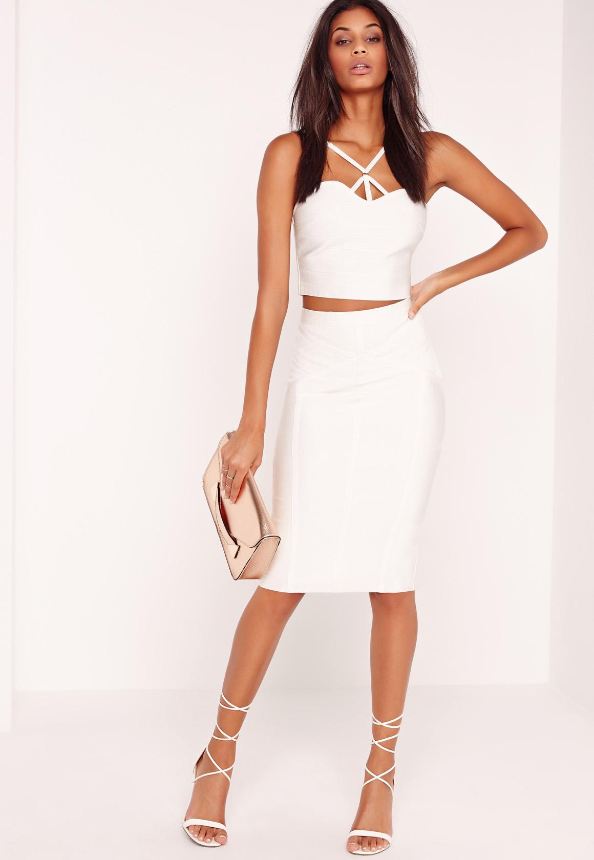 Premium Stitch Panel Bandage Midi Skirt White | Missguided