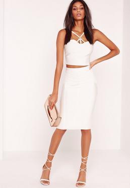 Premium Stitch Panel Bandage Midi Skirt White
