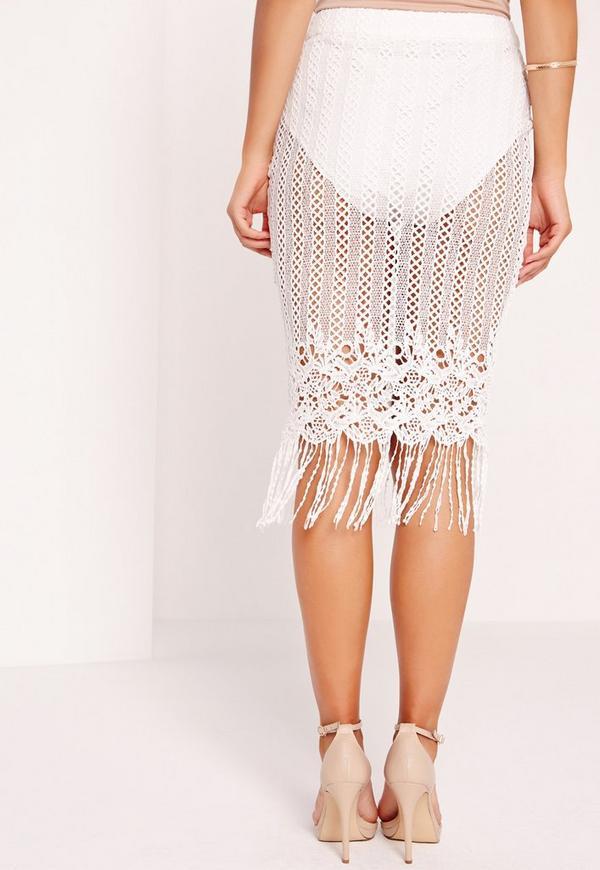 lace bobble hem white pencil skirt white missguided