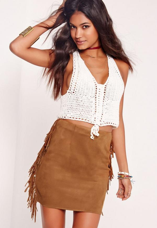Faux Suede Fringe Side Mini Skirt Tan