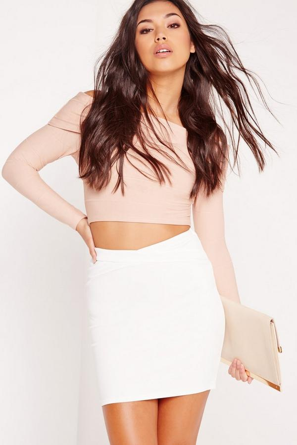 Bandage Cross Waist Mini Skirt White