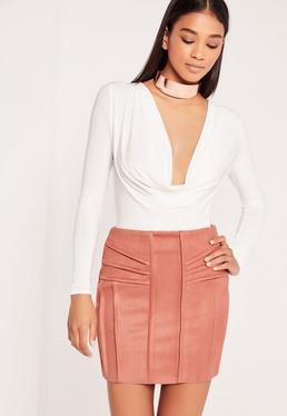 Faux Suede Panelled Mini Skirt Pink