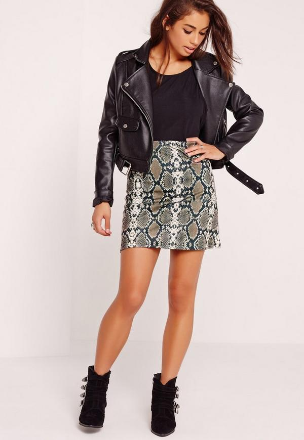 Snake Print Scuba A Line Skirt Brown