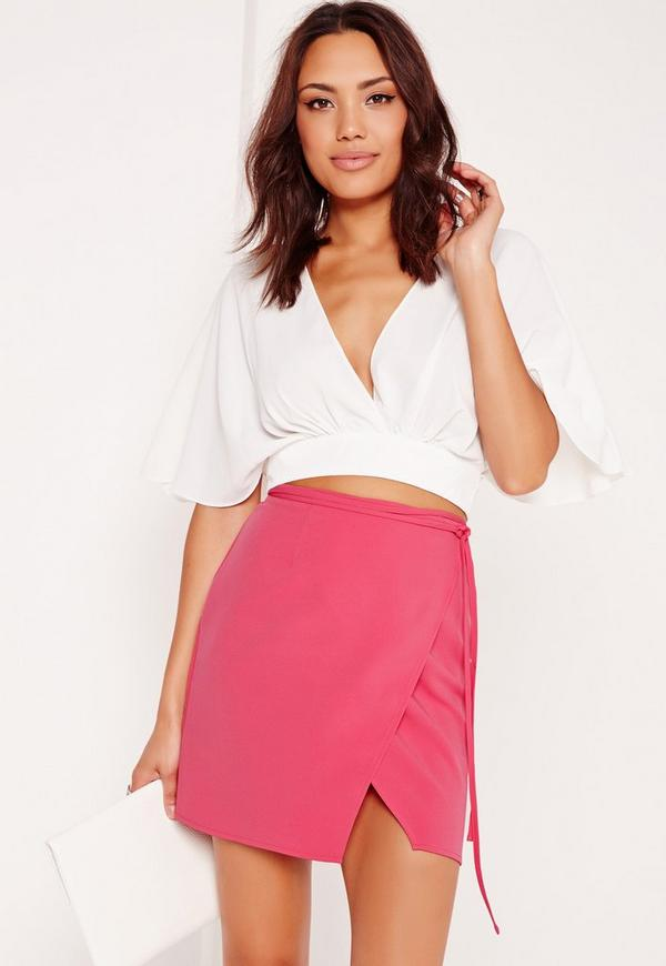 High Waisted Wrap Skirt Pink