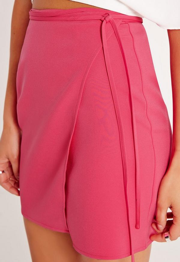 high waisted wrap skirt pink missguided australia