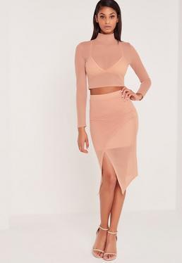 Carli Bybel Airtex Wrap Midi Skirt Pink