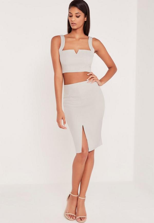 Carli Bybel Front Split Midi Skirt Grey