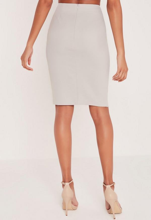carli bybel front split midi skirt grey missguided
