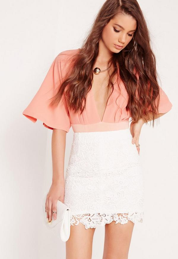 All Over Lace Mini Skirt White