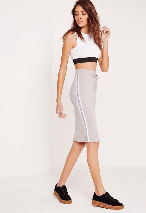side stripe midi skirt grey
