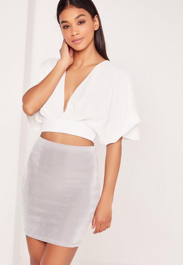 Textured Slinky Mini Skirt Grey