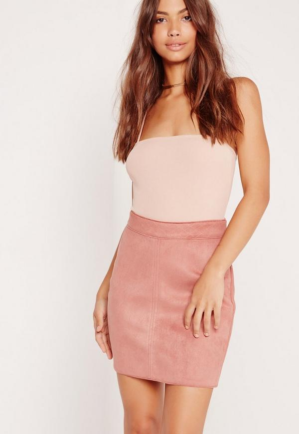 Faux Suede Stitch Waistband Skirt Pink