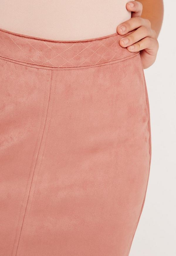 Faux Suede Stitch Waistband Skirt Pink Missguided