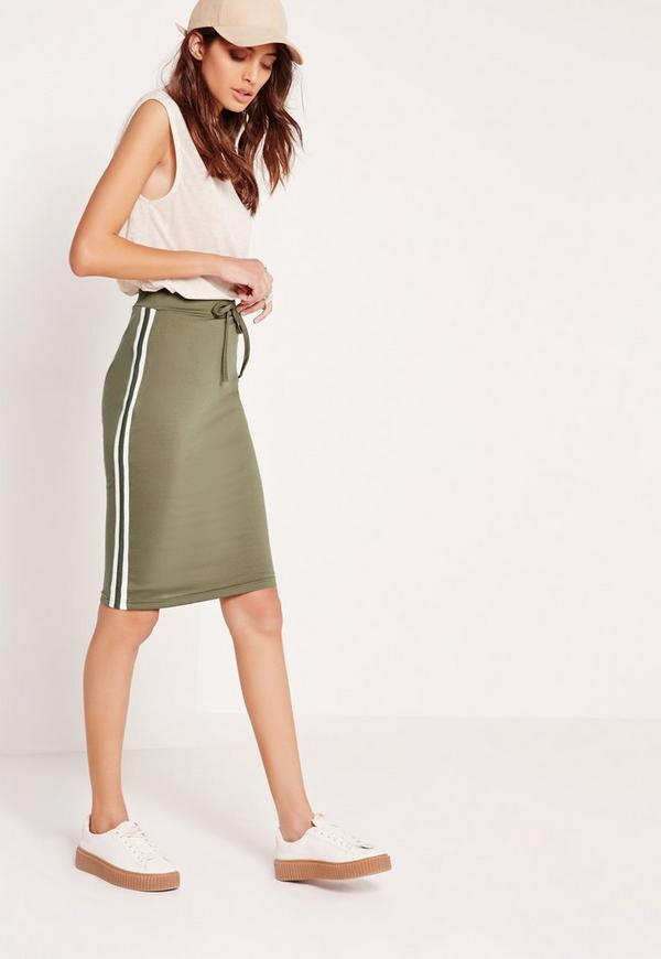side stripe midi skirt khaki