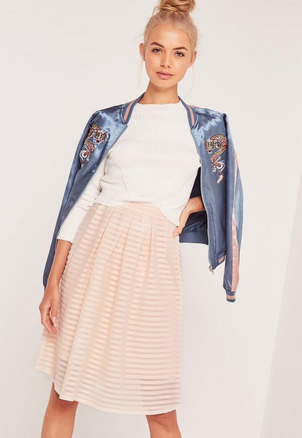 Rib Mesh Stripe Midi A Line Skirt Pink
